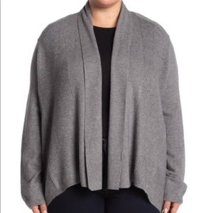 Open front gray cardigan sweater